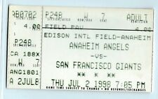 J.T. Snow 2 home runs, Kirk Reuter win ticket stub; Giants at Angels 7/2/1998