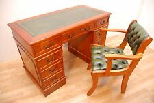 Antique Style Yew Pedestal Writing desk with Captains desk chair set