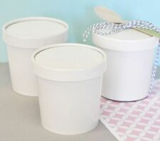 3 NEW Ice Cream Containers White Wedding Bridal Shower Favor Boxes Favors Q19460