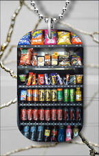 VENDING MACHINE SNACK & SODA DOG TAG PENDANT NECKLACE FREE CHAIN -jnb7Z