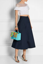 SALE NWT Navy Delpozo high-waist wide leg Cotton-Poplin Culottes Runway SP 2015