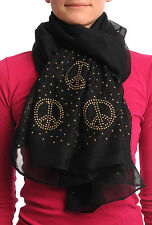 Black With Gold Studded Peace Signs Unisex Scarf and Beach Sarong (SF000722)