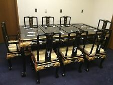 Oriental dining room set furniture black lacquer mother of pearl
