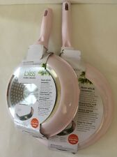 Pink Fry Pans Skillets Nonstick Ceramic Set Of Two 8 And 9.5 Inches New