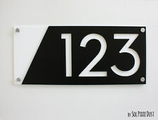 Modern House Numbers, Black with White Acrylic - Sign Plaque - Door Number