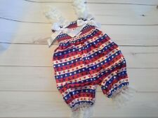 baby girl outfit set bubble romper 4th of july patriotic white satin stars 6-9m
