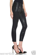 NWT J Brand Julia Leather Biker Pants Cropped Mid-Rise Zip in Noir Black Size 27