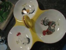 French Country Rooster Chicken Yellow 3 serving ceramic dish with Round Handle