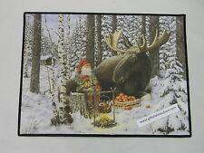 Scandinavian Swedish Jan Bergerlind Moose & Tomte Gnome Elf Door Mat Rug  #520