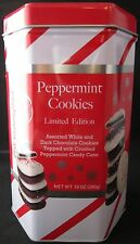 """6 5/8"""" x 3 5/8"""" Six Sided Chocolate Peppermint Cookie Red & White Tin"""