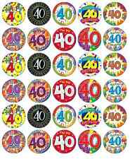 30 x 40th Birthday Edible Cupcake Toppers Wafer Paper Fairy Cake Topper
