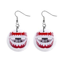 Teeth Chatter Tooth Dentist Funny Joke Button Earrings 100% FREE S&H Worldwide