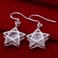 925 STUNNING SILVER CRYSTAL LARGE STAR DROP EARRINGS PENTAGRAM WICCAN CHRISTMAS