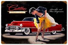 Cadillac Smoother Pin Up Girl Vintage Distress Metal Sign Home Wall Decor HB078