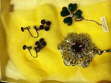 Vintage BLING!!!!  - Gorgeous Ear Rings- Lucky Pin- Pendant - JUST BEAUTIFUL!!!