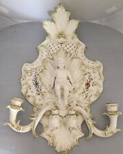 Italy Cherub Angel Wall Sconce Candle Holders Painted ARTIST SIGNED
