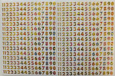 NUMBER STICKERS (SMALL) x 2 sheets, metallic, multi-coloured *top quality*