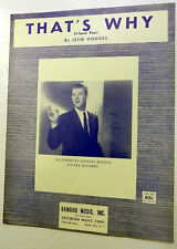 DONNIE BROOKS Sheet Music THAT'S WHY Criterion Publ. 60's POP VOCALS