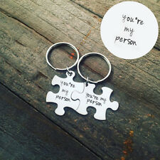 2 Pcs 1 Set Silvery Metal Puzzle You're My Person Lover Couple Keychain Keyring