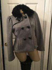 Grey gray Bebe pea coat small removable collar