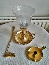 2 VINTAGE BRASS CHAMBER CANDLE STICKS HOLDERS & CANDLE SNUFF