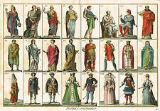 "Panckoucke's Costumes - ""HABITS COSTUMES"" -Hand-Colored Engraving- 1786"