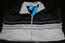 ADIDAS ORIGINALS PIPING THROWBACK TRACK TOP BLACK/ALUMINIUM HEATHER/ROYAL#MD $70