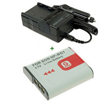 Battery pack + Charger For Sony NP-BG1 DSC-W50 DSC-W80 H5 H9 DSC-W100 DSC-W110