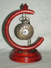 WOODEN POCKET WATCH GLOBE STAND IN PADAUK HARDWOOD HANGER DISPLAY WOOD HOLDER