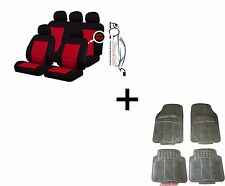 CAMDEN RED LUMBAR UNIVERSAL CAR SEAT COVERS PROTECTORS + MATCHING RUBBER MATS