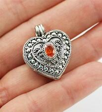 Pretty Solid 925 Sterling Silver & Red,CZ Box / Locket / Pendant + BOX