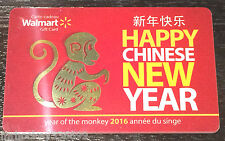 Walmart Canada 2016 YEAR OF THE MONKEY gift card (cash value) French/English