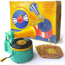 A RARE VINTAGE SELCOL KID E PHONE TOY GRAMOPHONE  WIND UP BOXED WITH RECORDS