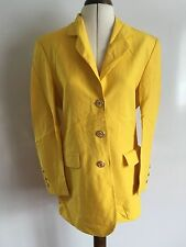 VINTAGE 80's Harrods Bright Yellow Buttoned Blazer Jacket / Coat Size 36