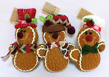 Hanna's Handiworks Trio of Gingerbread Holiday Ornaments lot