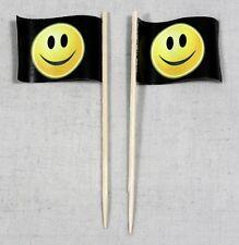 Party-Picker Smiley schwarz Smily 50 Stk. Dekopicker Käsepicker Food Flagge