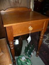 Incredible 1-Drawer Cherry table-spindle legs - with gallery backsplash - c1870