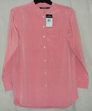 Lauren Ralph Lauren Womens NWT $90 L/S Button Shirt Blouse, S M L PL, Ivory Pink