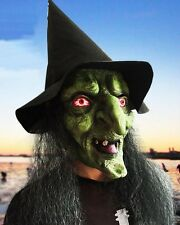 Witch Mask Hag Mask Green Face With Hat Free Latex Party Carnival Halloween
