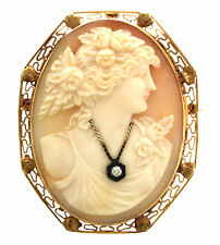Victorian 14K Yellow Gold Framed Diamond Habille Cameo Brooch or Pendant