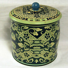 Floral Tin Can Canister With Lid Blue Flowers Empty Made In England Vintage