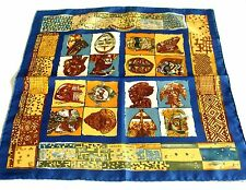 AUTH HERMES 100% SILK PETIT SCARF-PERSONA BY LOIC DUBIGEON/MADE IN FRANCE--RARE!
