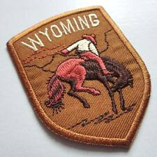 WYOMING RIDER HORSE RODEO Brown Embroidered Iron on Patch Free Postage