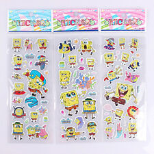 New Cartoon 5 sheets SpongeBob PVC Puffy Stickers Sheet Kids Gift SK075