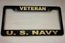 Military License Plate Frame, Polished ABS-VETERAN/U.S. NAVY-842327G