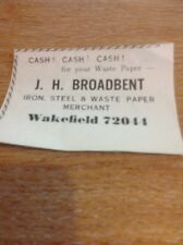 Ephemera Small Advert Wakefield 1968 J H Broadbent Scrap Merchants Waste