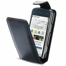 COVER CUSTODIA FLIP CASE PER NOKIA N97 32GB ECO PELLE FODERO NERO BLACK NUOVO