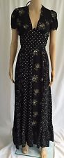 Vintage Young Edwardian Arpeja Rockabilly Black Dress Floral Polka Dot 11 Maxi