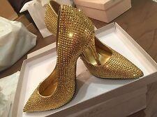 NEW Giuseppe Zanotti Swarovski Crystal Rhinestone Studded Gold Pumps Shoes 38, 8