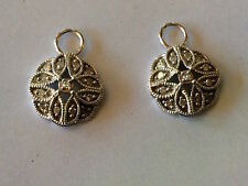 White Gold Pave Diamond Earrings Charms fit Jude Frances KC Designs hoops